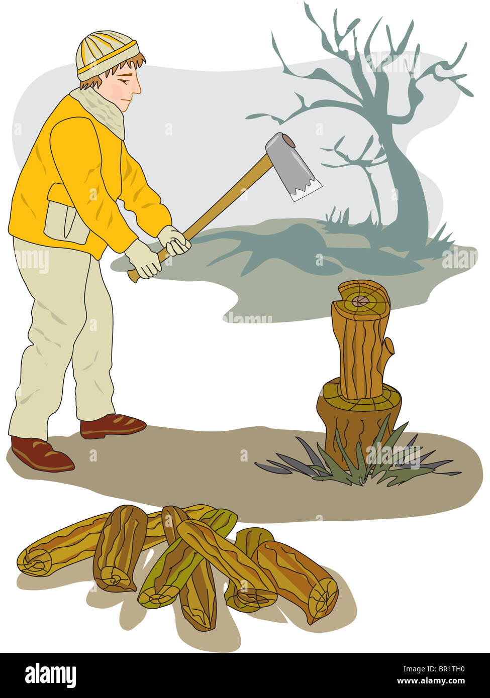 A drawing of a man chopping firewood Stock Photo