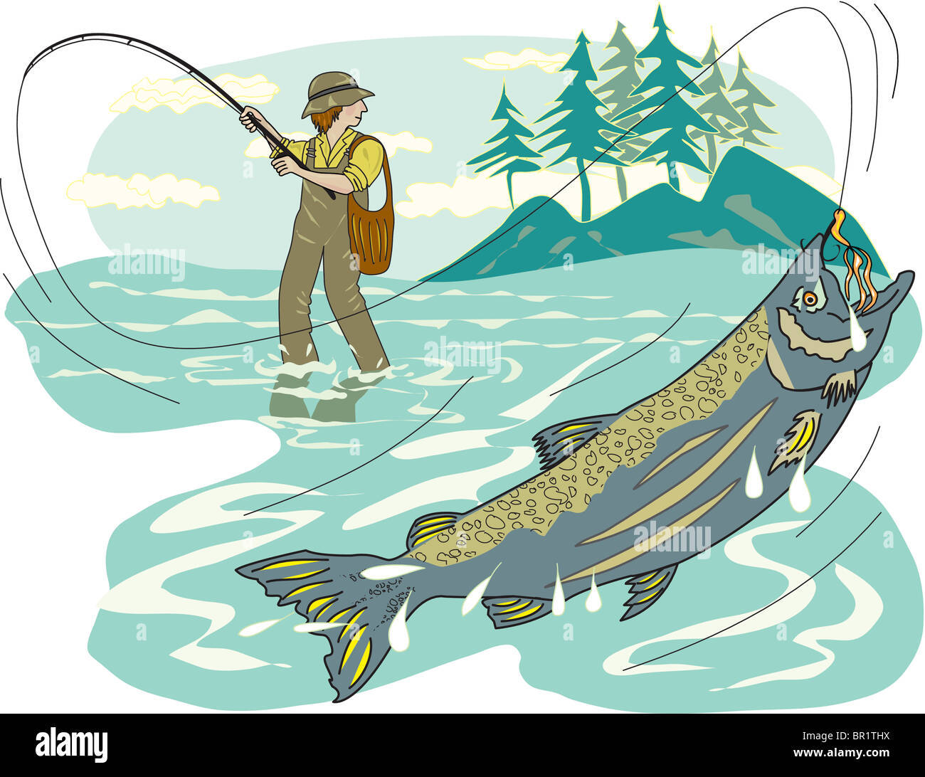 A pictorial representation of a man fly fishing Stock Photo