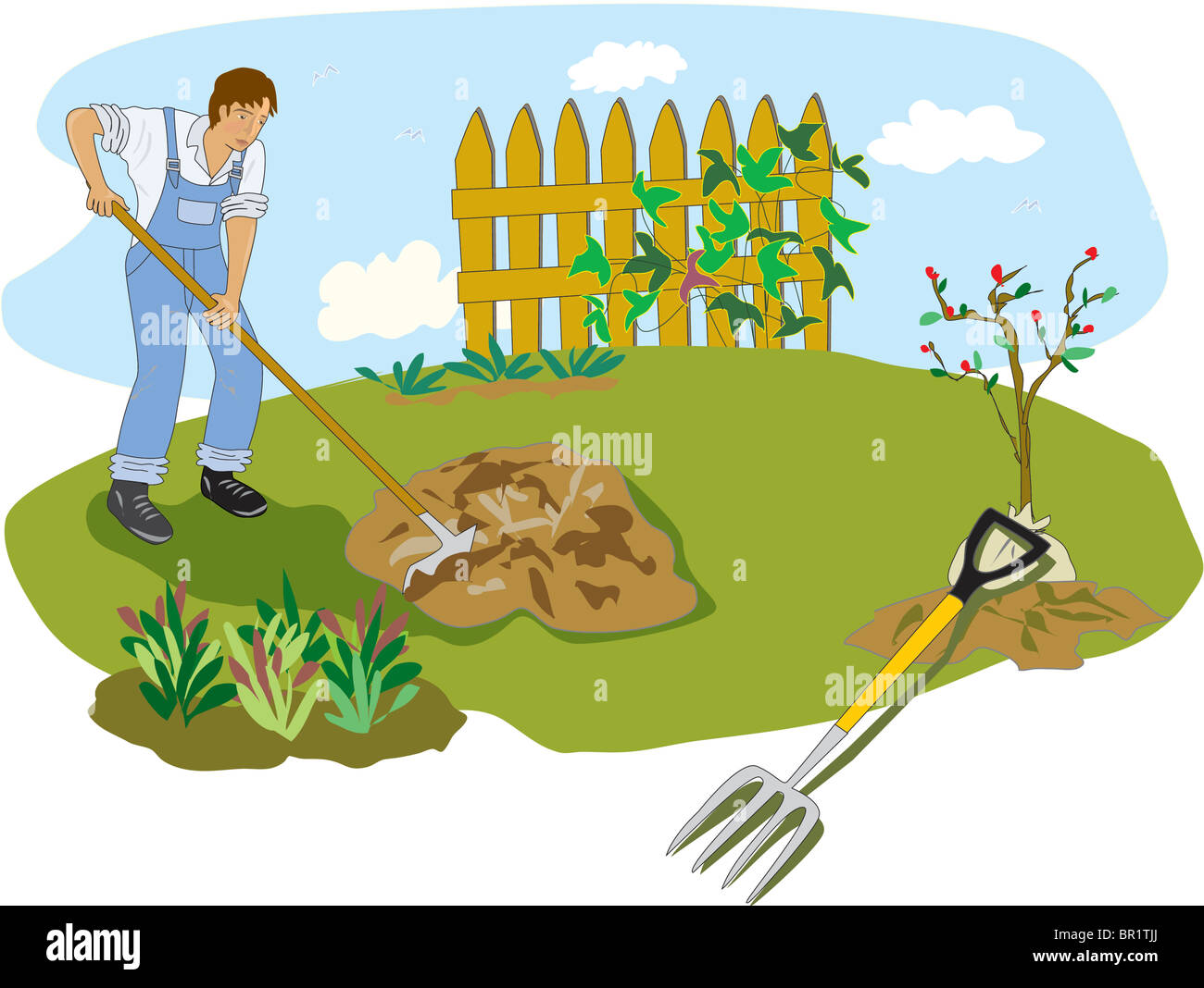 An illustration of a man raking leaves in his garden Stock Photo