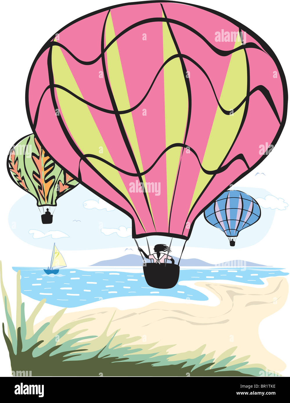 An illustration of people sightseeing on hot air balloons Stock Photo