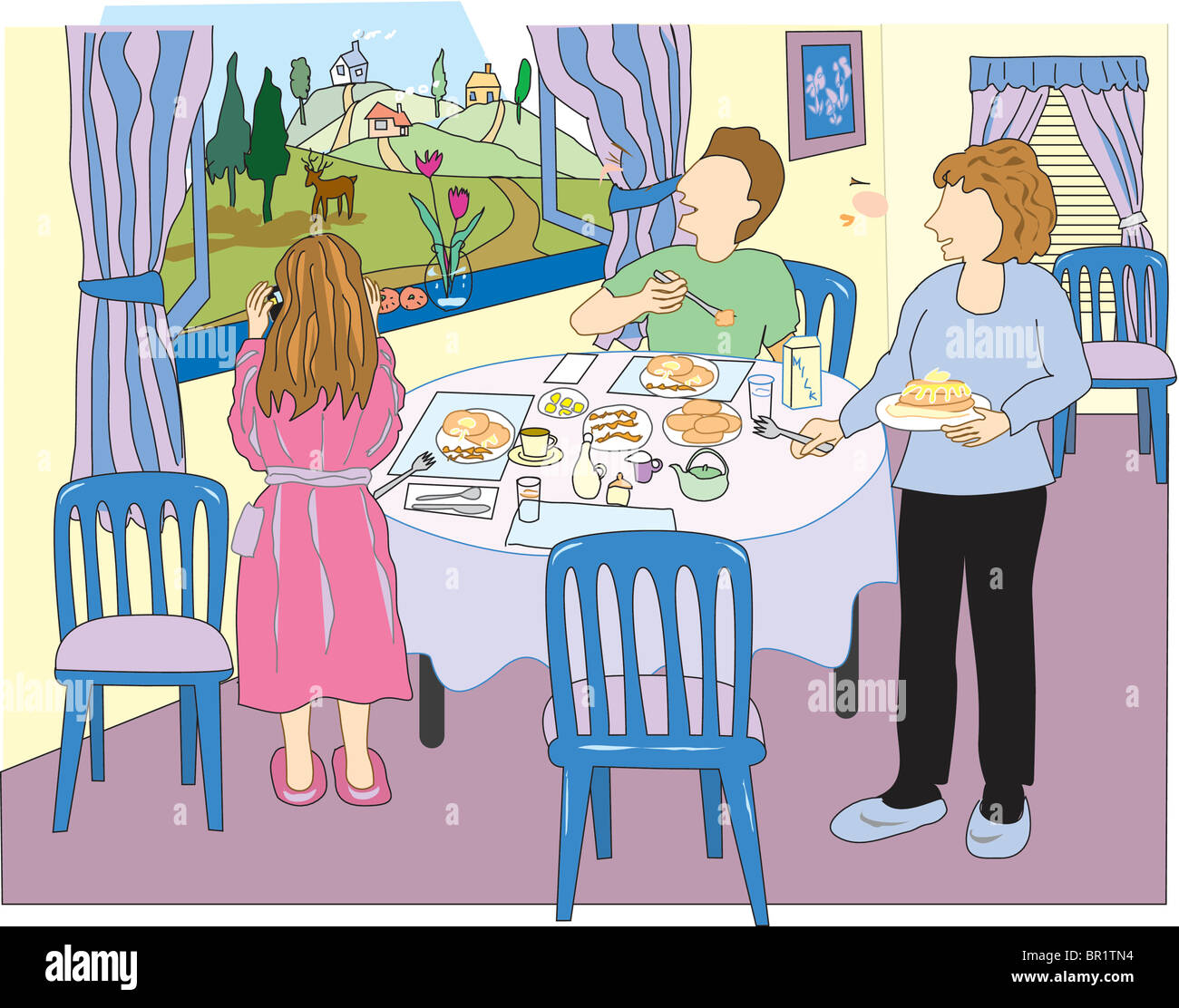 An illustration of a family eating breakfast together Stock Photo