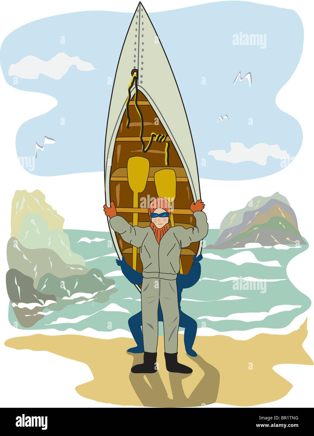 A ma portaging by the seashore Stock Photo