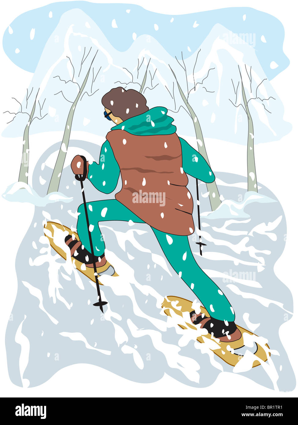 An illustration of a man snowshoing Stock Photo
