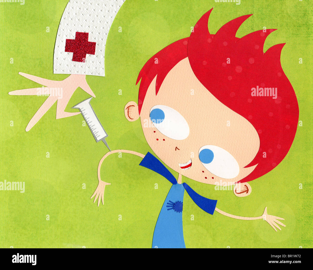 A paper cut illustration of a boy getting immunized - Stock Image