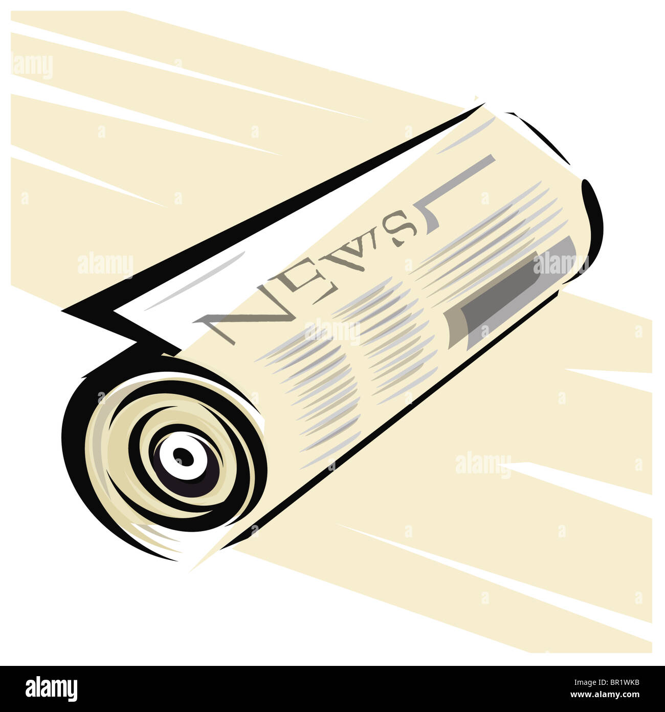 An illustration of a rolled up newspaper - Stock Image