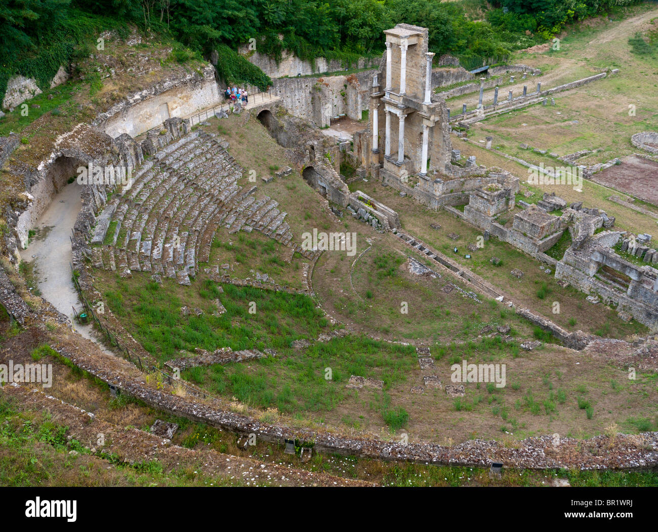 The Teatro Romano, the ancient Roman theatre at Volterra, Tuscany, Italy, built in the reign of emperor Augustus. - Stock Image