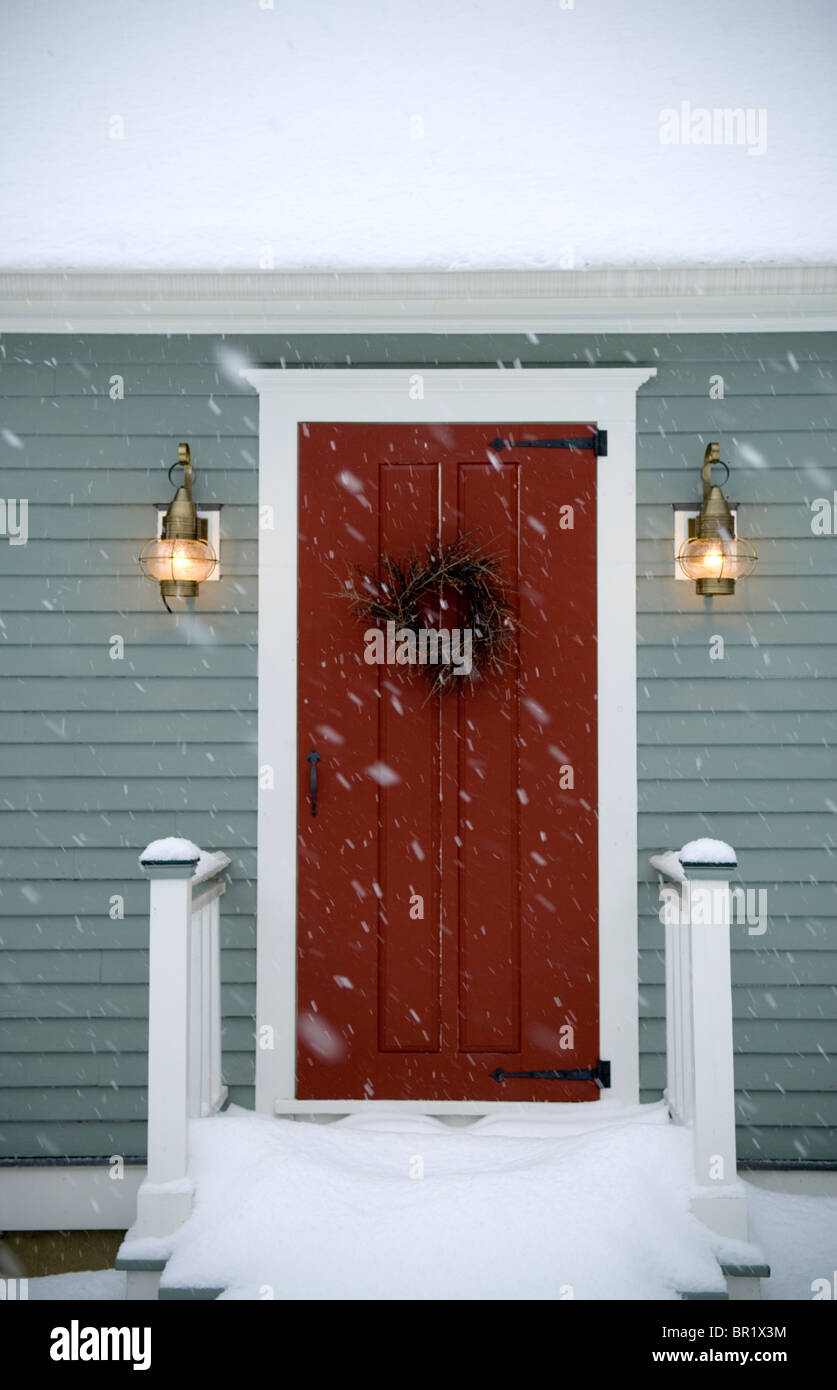 Red door on classic New England Cape Maine & Red door on classic New England Cape Maine Stock Photo: 31389896 ...