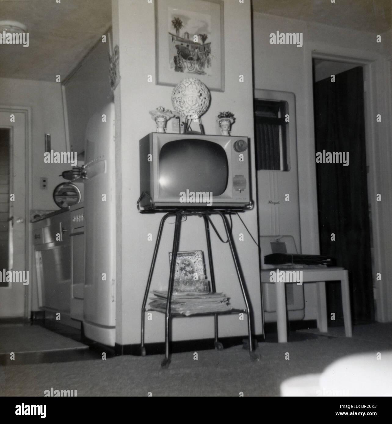 Retro mod circa 1964 living room with Zenith television, Daytona
