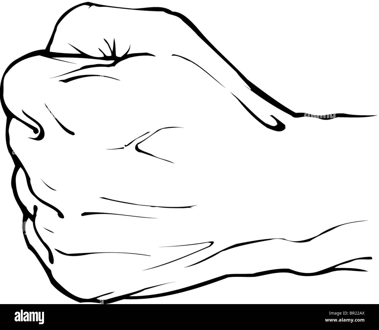 A black and white drawing of a closed fist stock image
