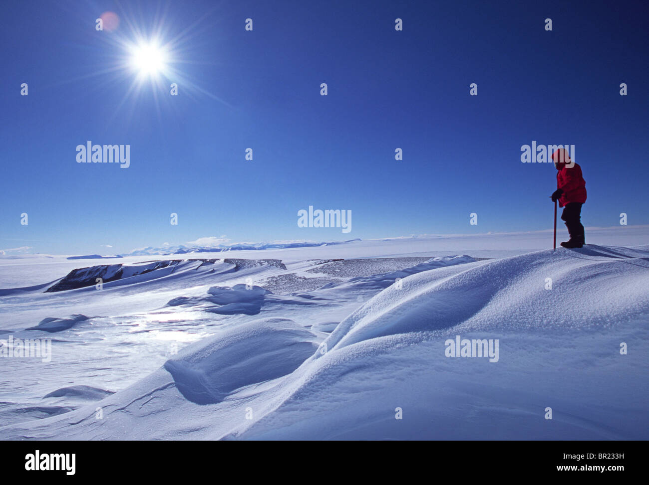 Shaun Norman, Antarctic Mountaineer, searches for a route across the Polar Plateau. - Stock Image
