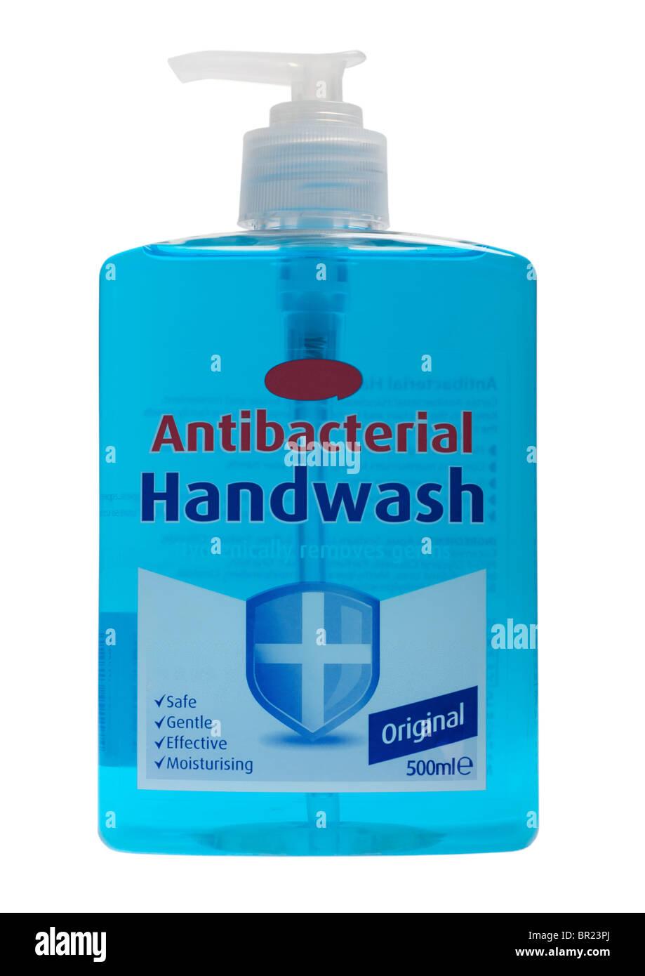 Bottle of antibacterial hand wash on white background - Stock Image