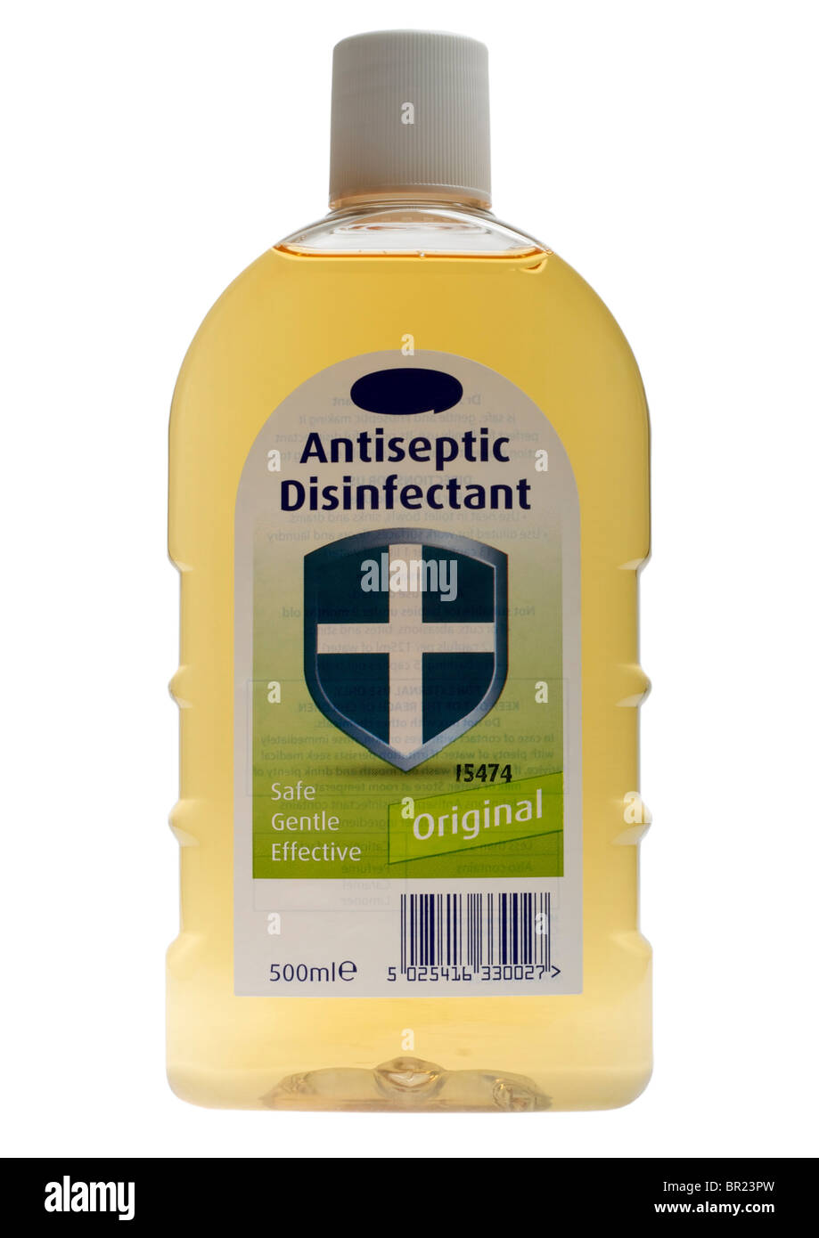 Bottle of antiseptic disinfectant on white background - Stock Image