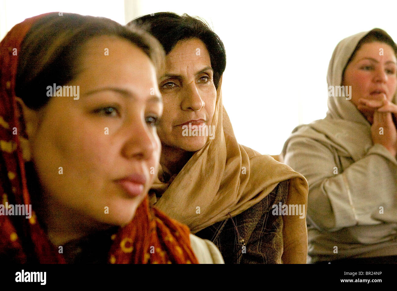 Woman attends a business training seminar in Kabul. - Stock Image