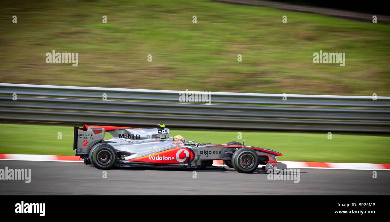 Lewis Hamilton drives a Vodafone McLaren Mercedes Formula One car at the Belgian Formula 1 Grand Prix in Spa, during - Stock Image