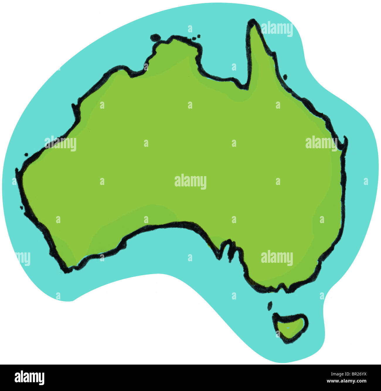 A graphical illustration of Australia - Stock Image