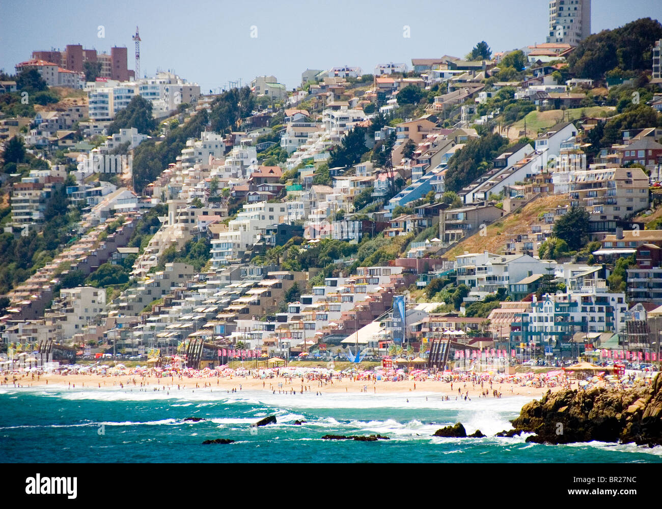 a view of vina del mar beach and resorts stock photo. Black Bedroom Furniture Sets. Home Design Ideas