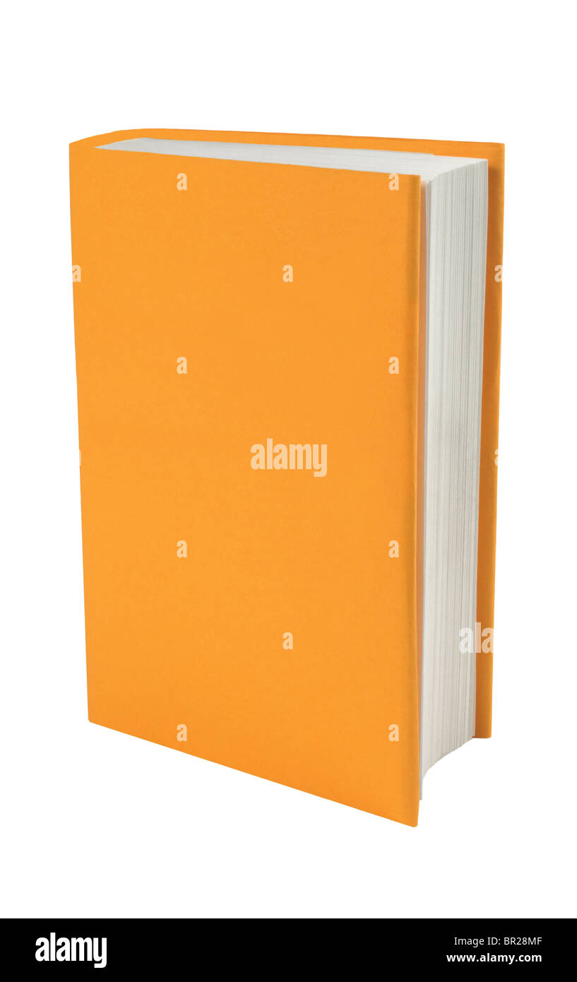 Blank book with orange cover on a white background - Stock Image