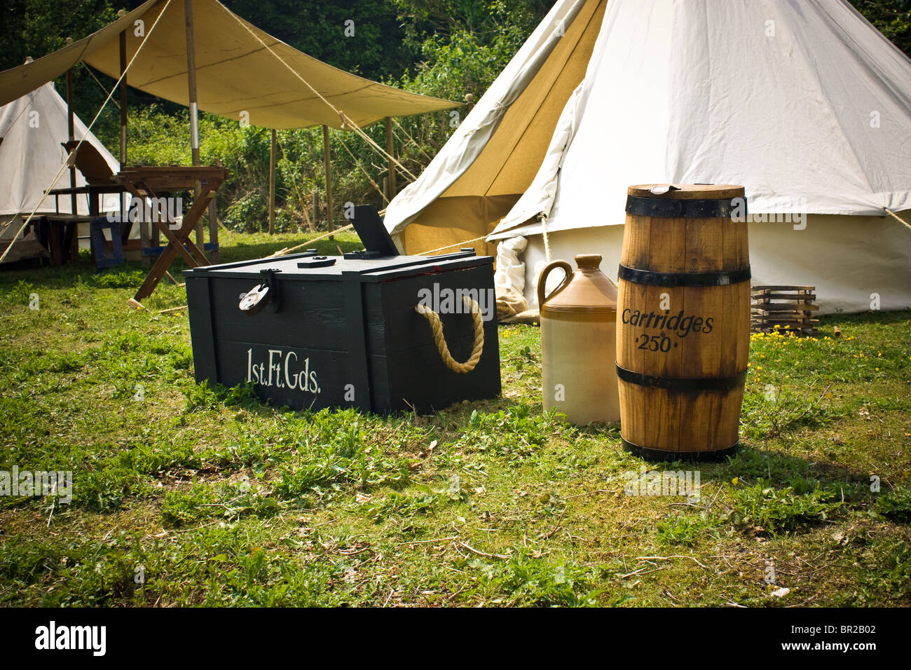 A re-enactment British Army  Napoleonic camp at the Western Heights Dover Kent. - Stock Image
