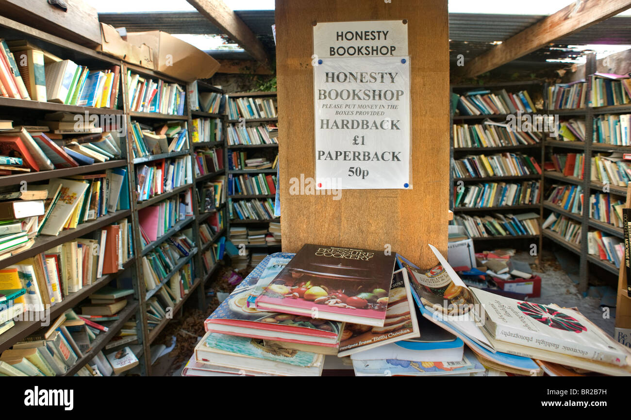 Honesty bookshop in Hay on Wye, the town on the Welsh, English border which specialises in second hand books. - Stock Image