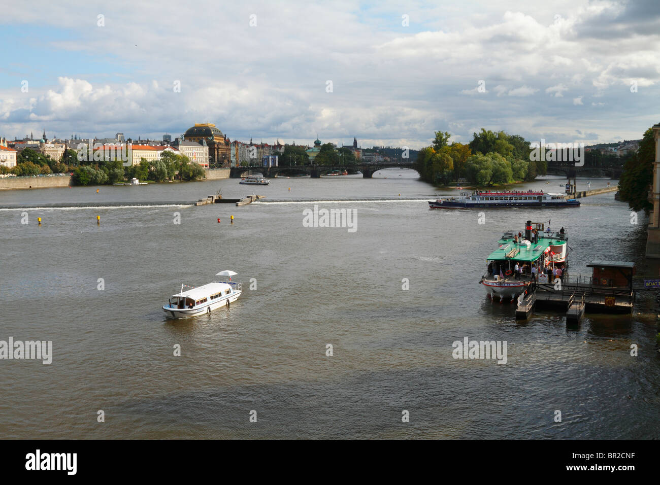 Wharfed (laddered) boat at Vltava river, Prague, Czech Republic August 2010 - Stock Image