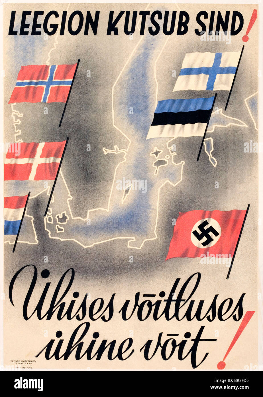 Second World War (World War II) Nazi propaganda poster showing a map of north-west Europe and the flags of occupied - Stock Image
