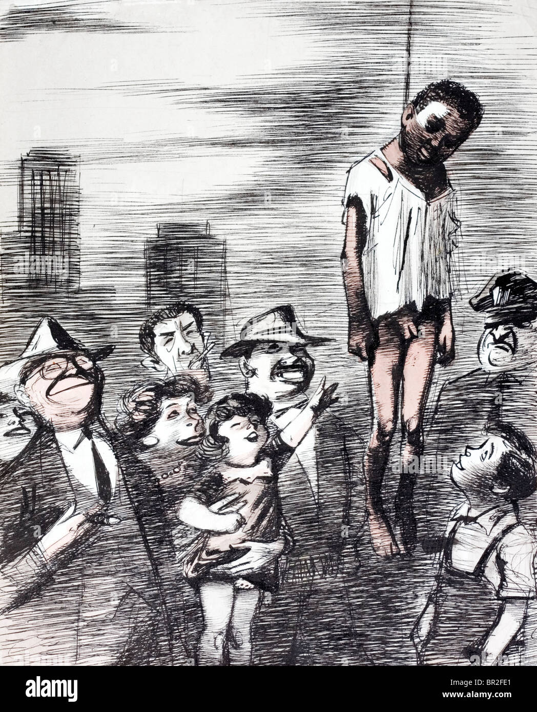 Soviet propaganda cartoon showing a lynching in the United States. - Stock Image
