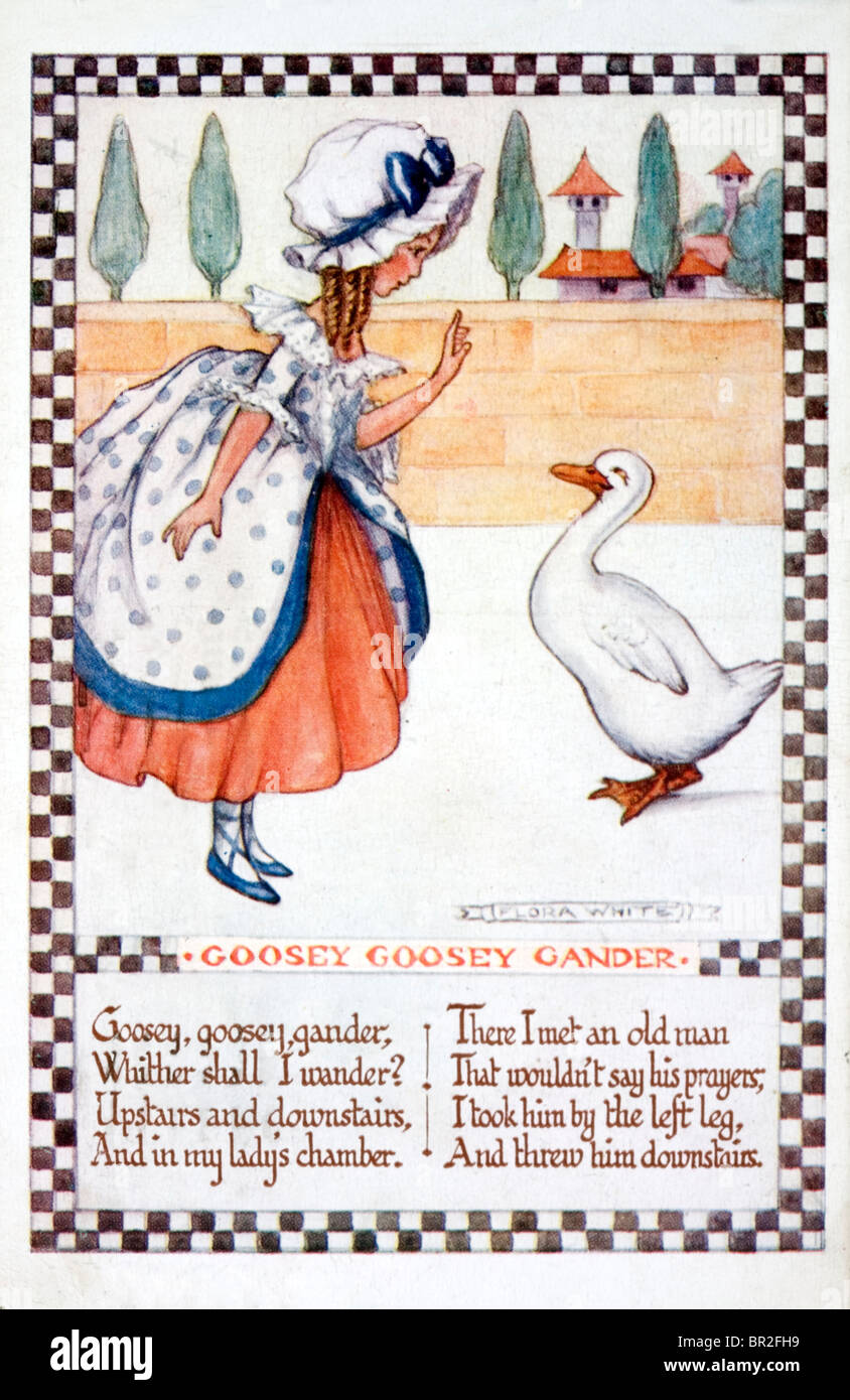 Flora White nursery rhyme card from about 1920. 'Goosey Goosey Gander' - Stock Image