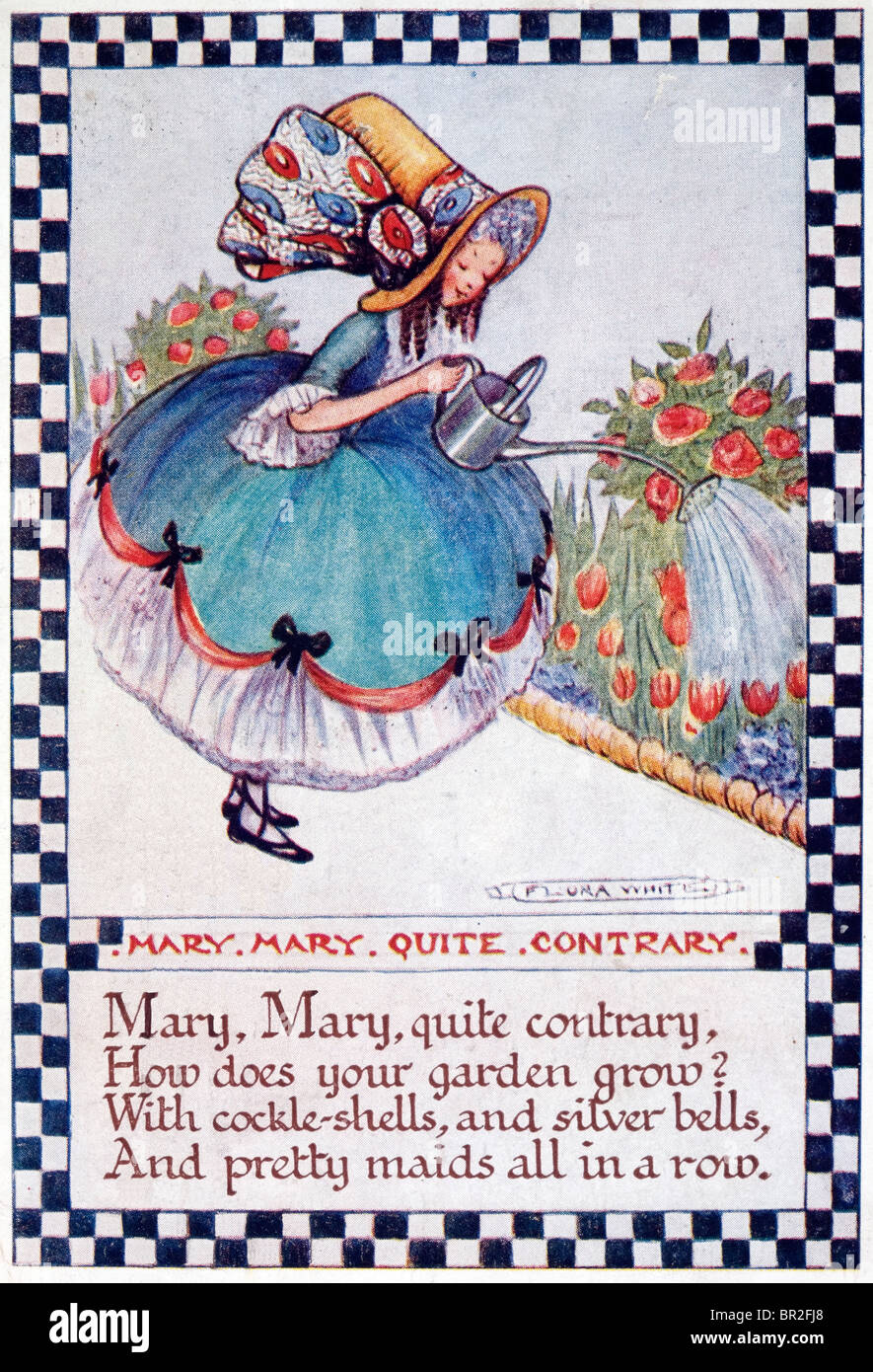 Flora White nursery rhyme card from about 1920. 'Mary Mary Quite Contrary' - Stock Image