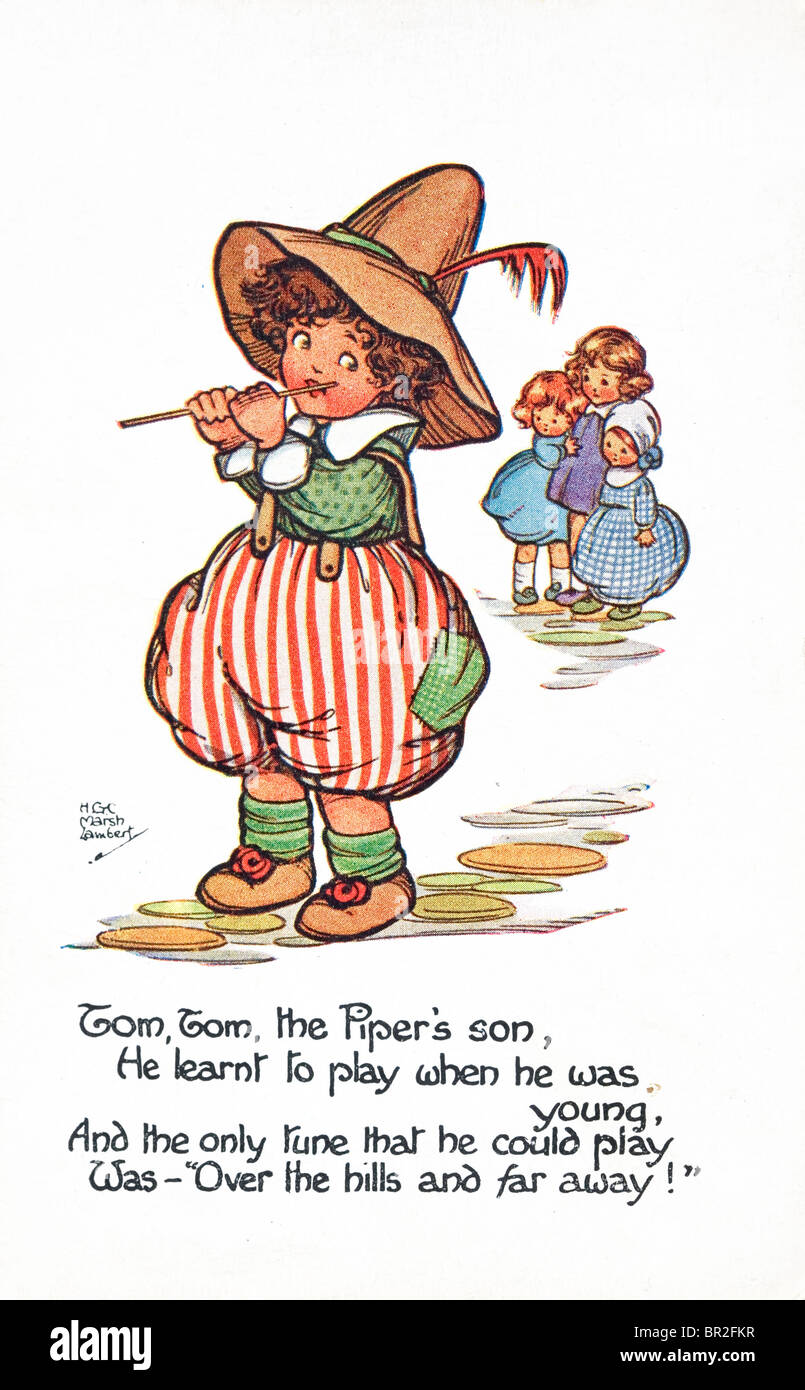 Tom Tom the Piper's son. Nursery rhyme postcard c1930. - Stock Image