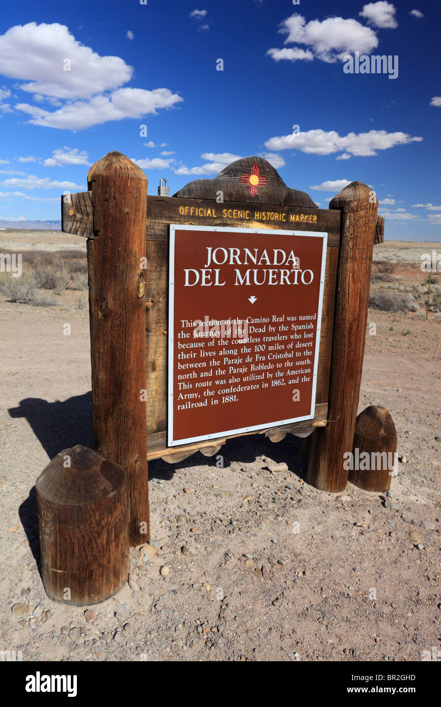 An historic marker in rural New Mexico for a section of the Camino Real nicknamed the 'Journey of the Dead.' - Stock Image