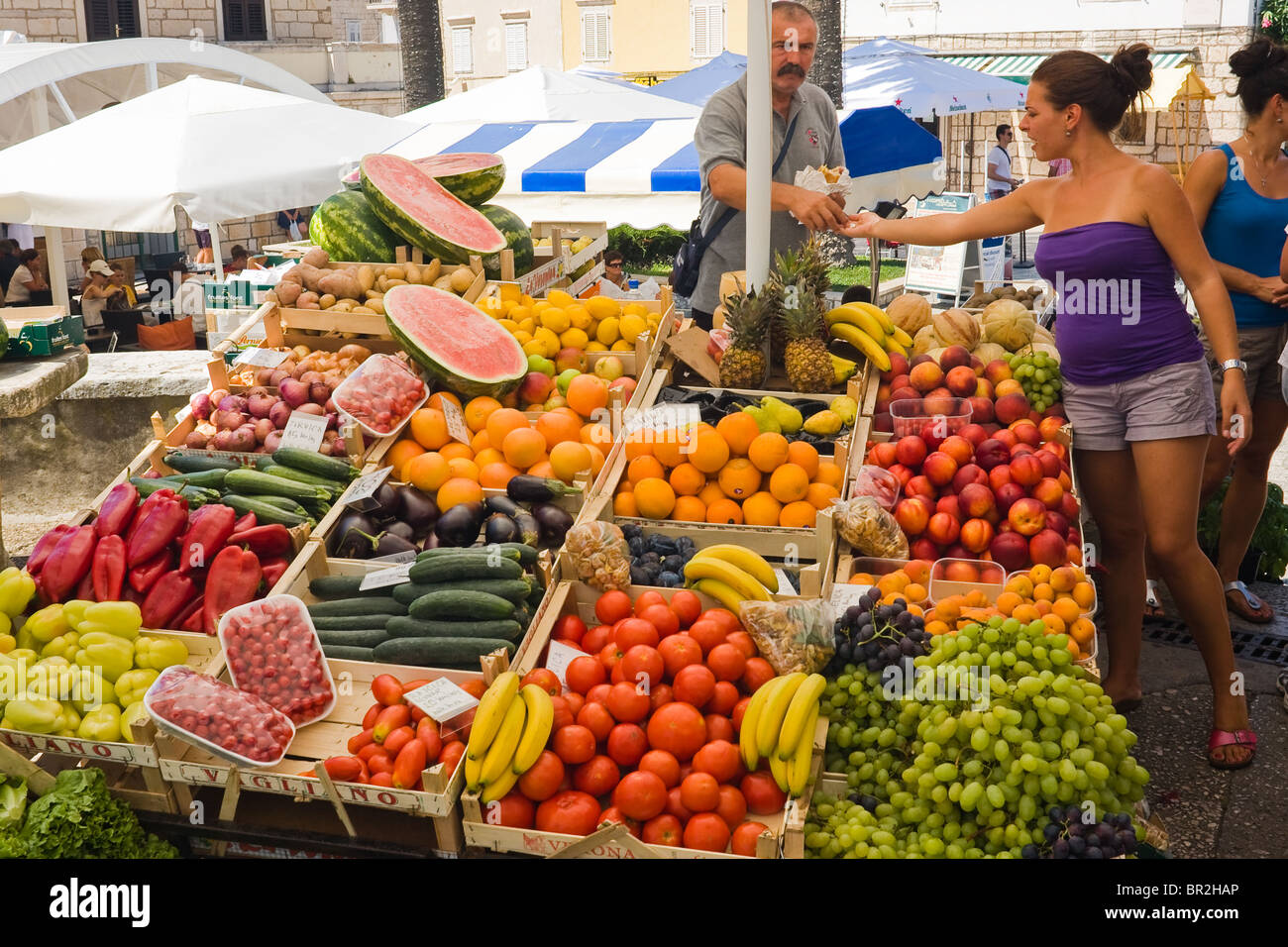 Fruit market on old town in Korcula Stock Photo