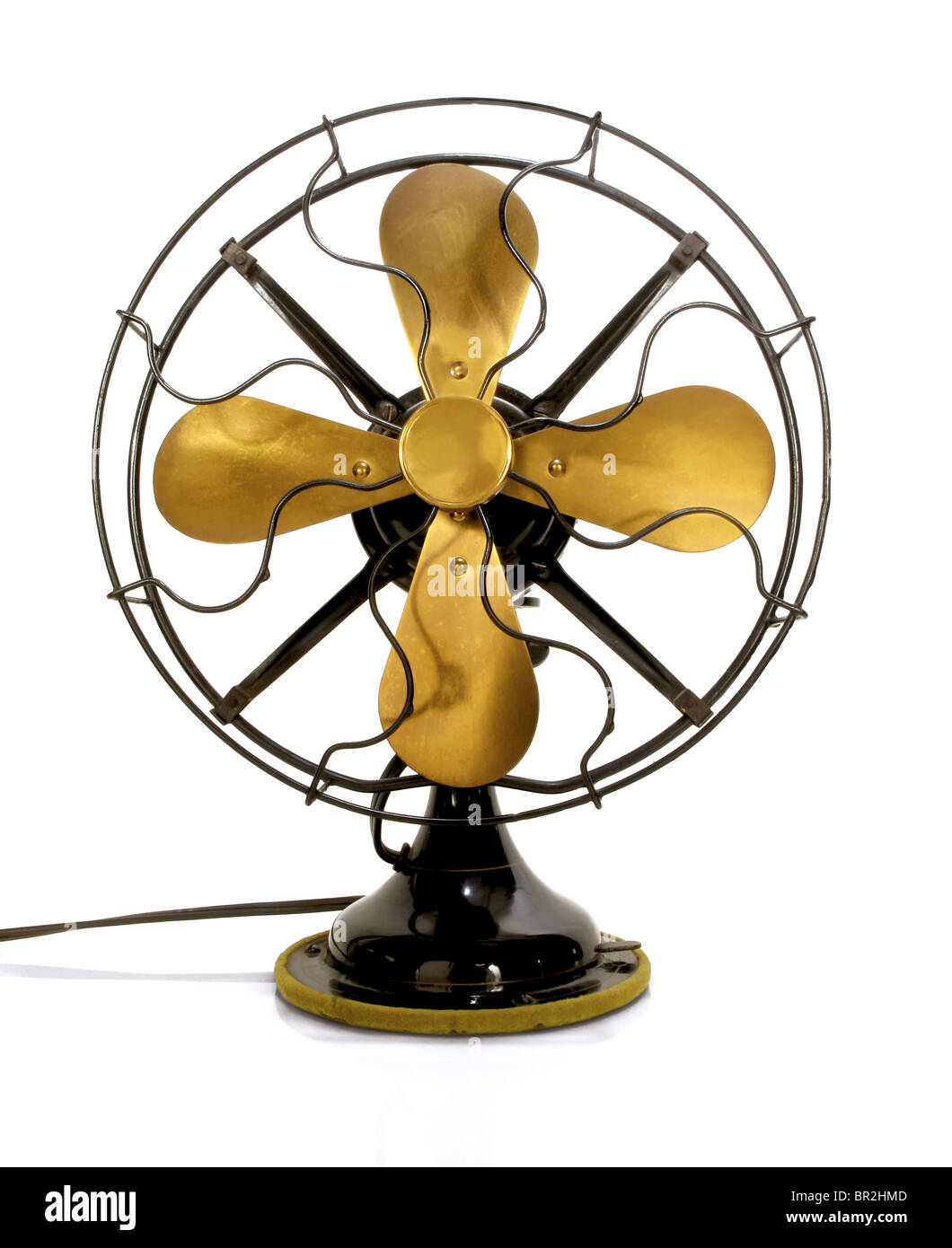 Beautiful black antique brass fan on a white background - Stock Image