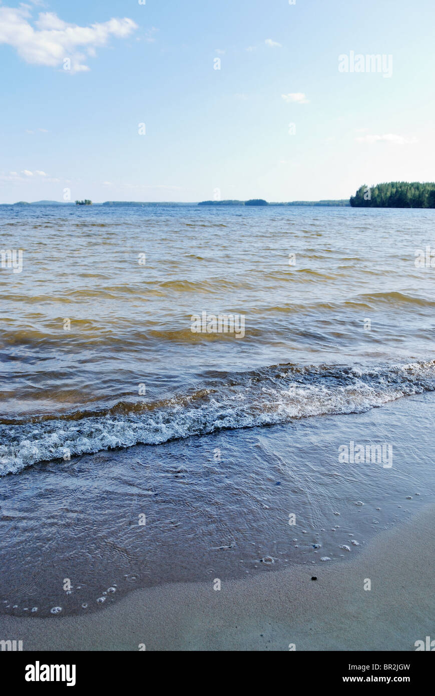 Hiekanpaa beach by lake Pyhajarvi, Kitee, eastern Finland - Stock Image