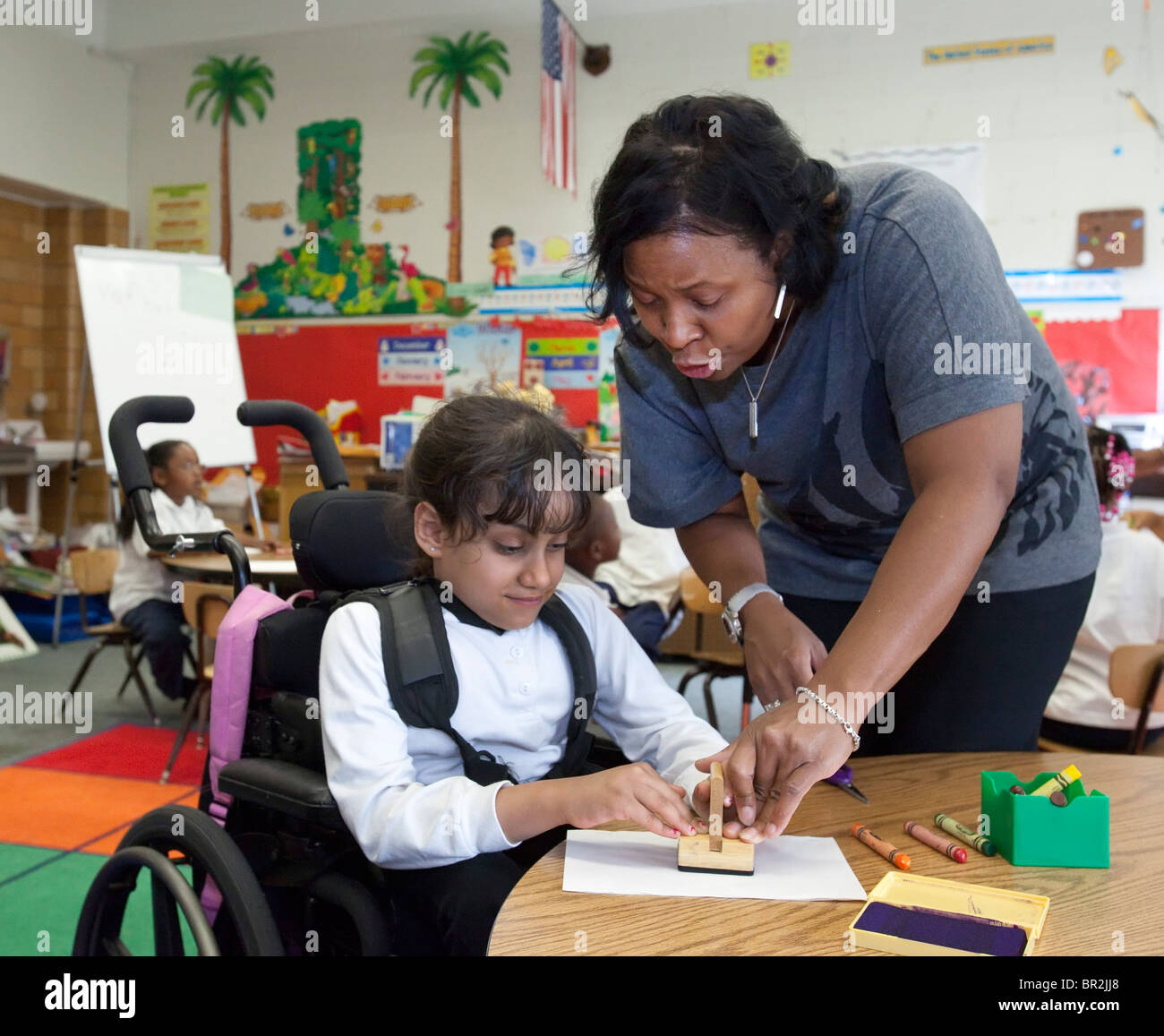 Elementary School Classroom in Detroit - Stock Image