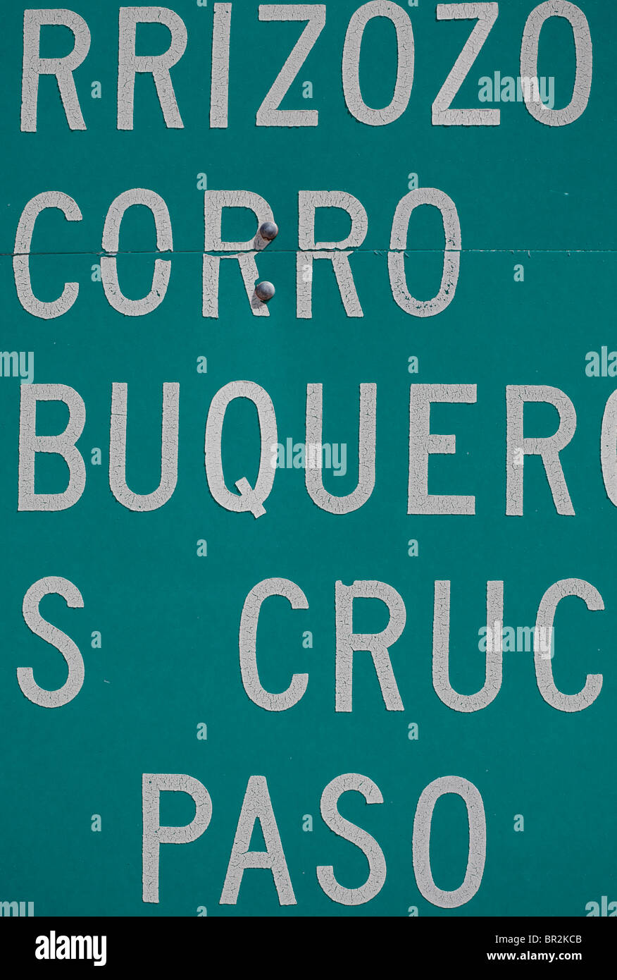 Abstract view of sign in New Mexico referring to various towns: Carrizozo, Socorro, Albuquerque, Las Cruces, El - Stock Image