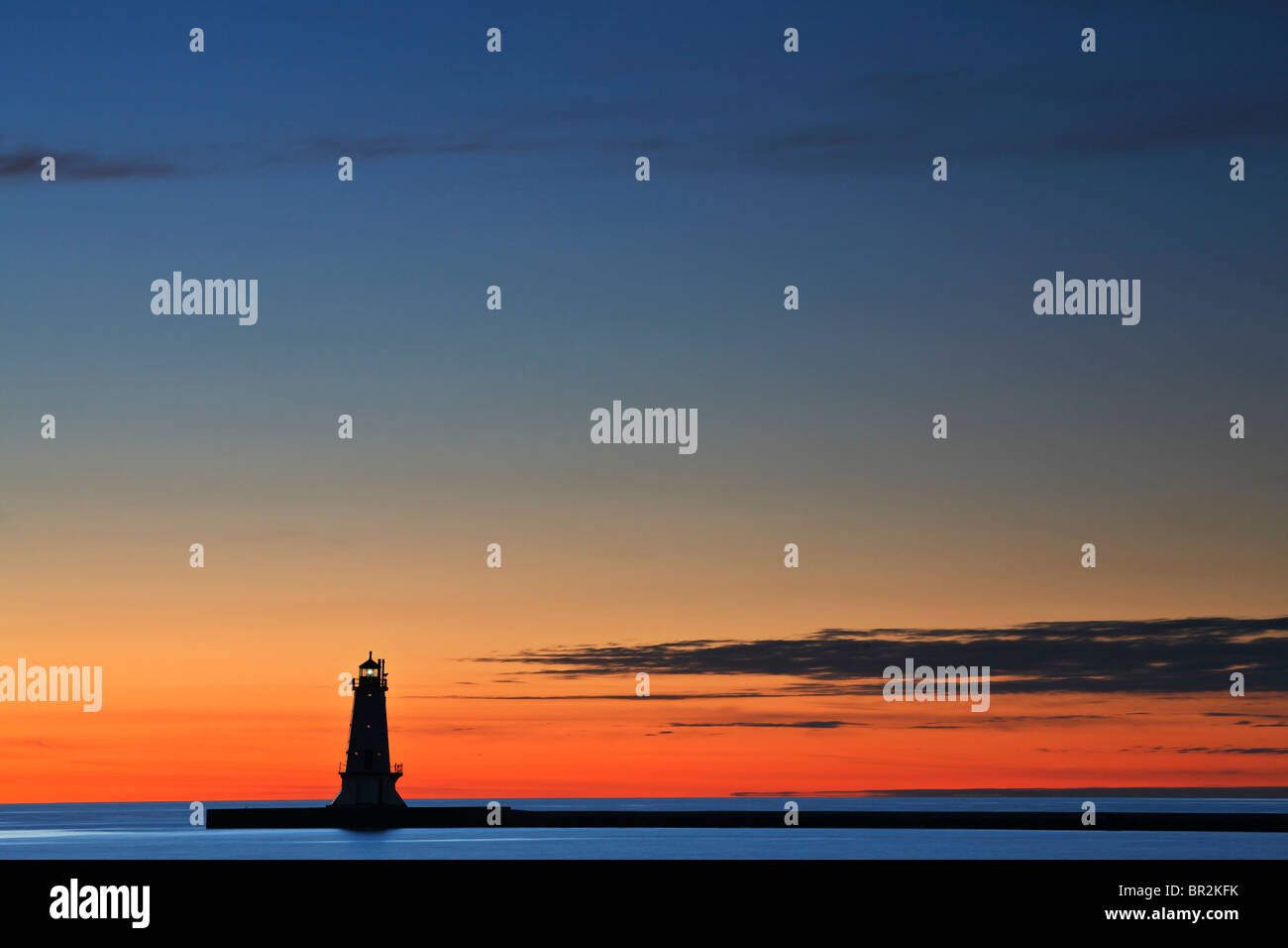The North Breakwater lighthouse at Stearns Park in Ludington, Michigan Stock Photo