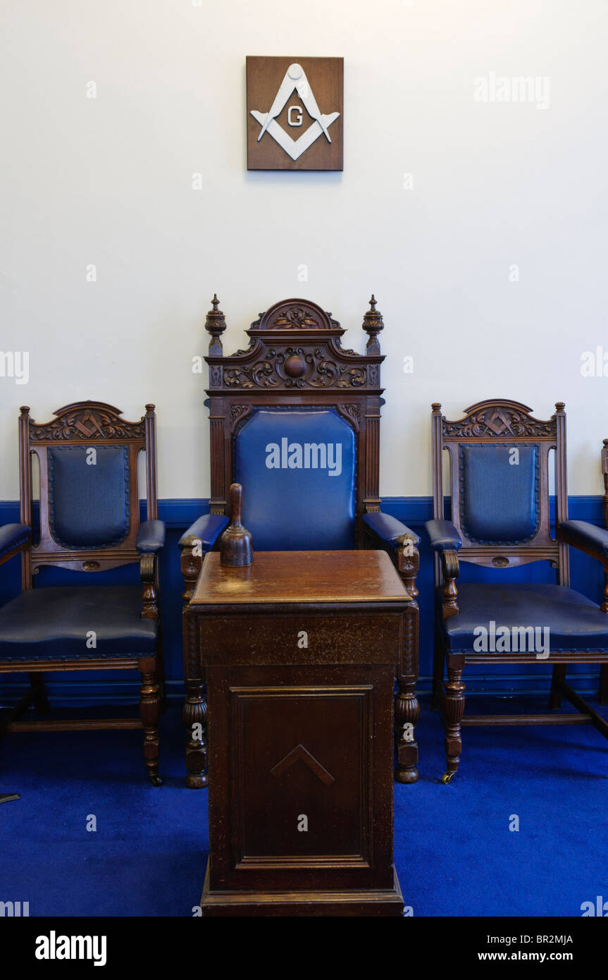 Worshipful Master's chair in a Masonic lodge room - Stock Image
