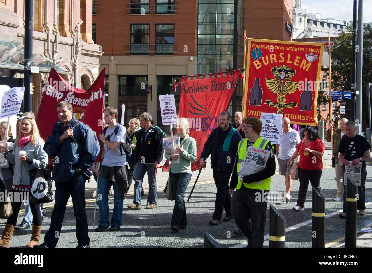 Demonstration at start of TUC Congress to lobby for action against government cuts,services, benefits. Manchester. - Stock Image