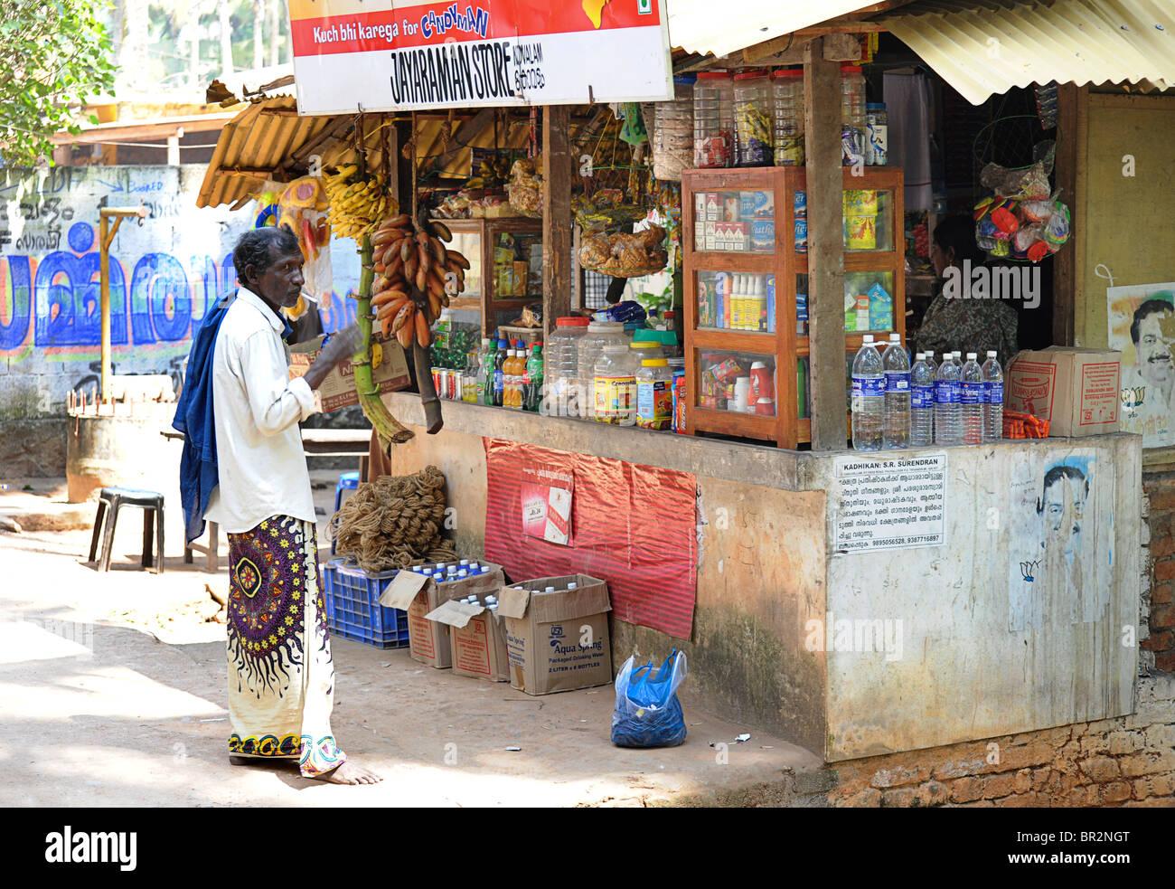Indian Corner shop, Kovalam, Kerala, India - Stock Image