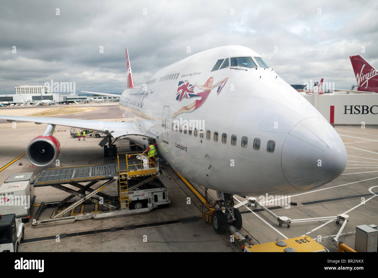 Virgin Atlantic Boeing 747 on the tarmac at South terminal, Gatwick airport, UK - Stock Image