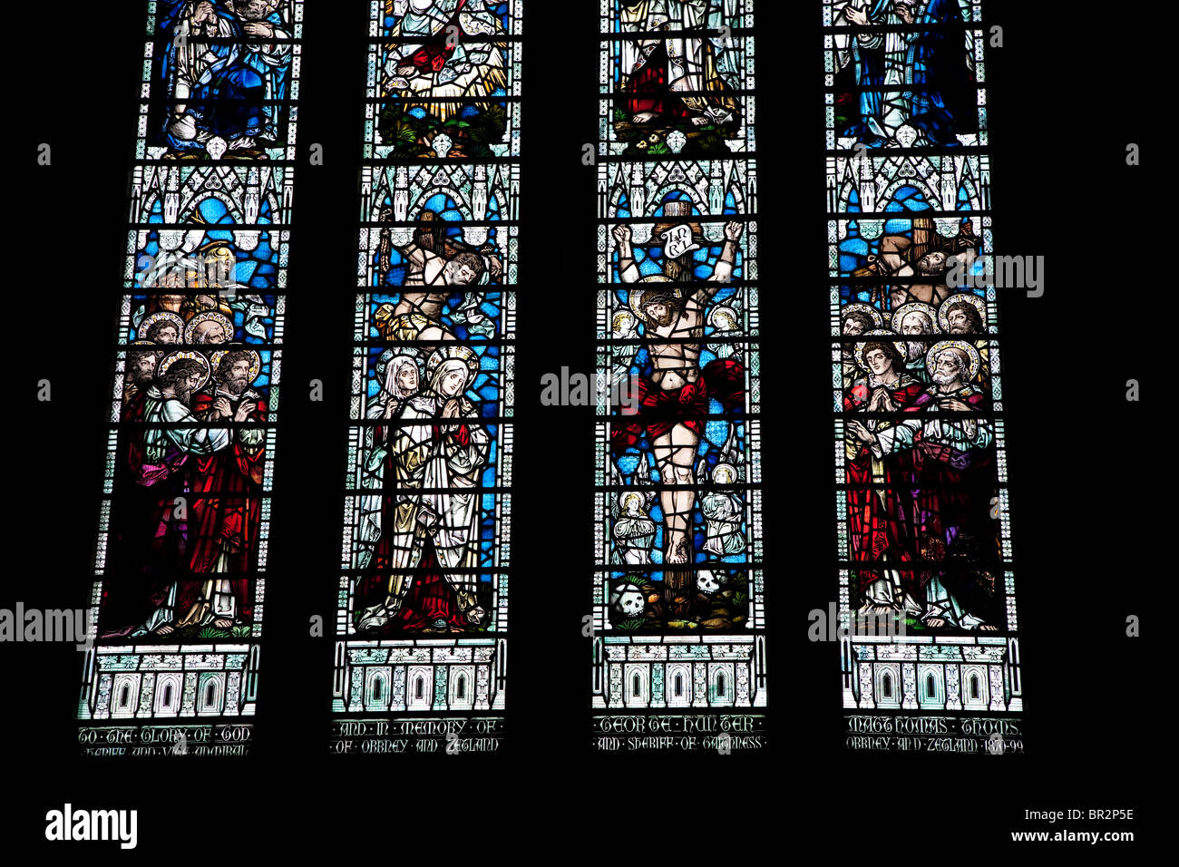 Stained Glass Window in Kirkwall Cathedral in the Orkney Islands, Scotland - Stock Image