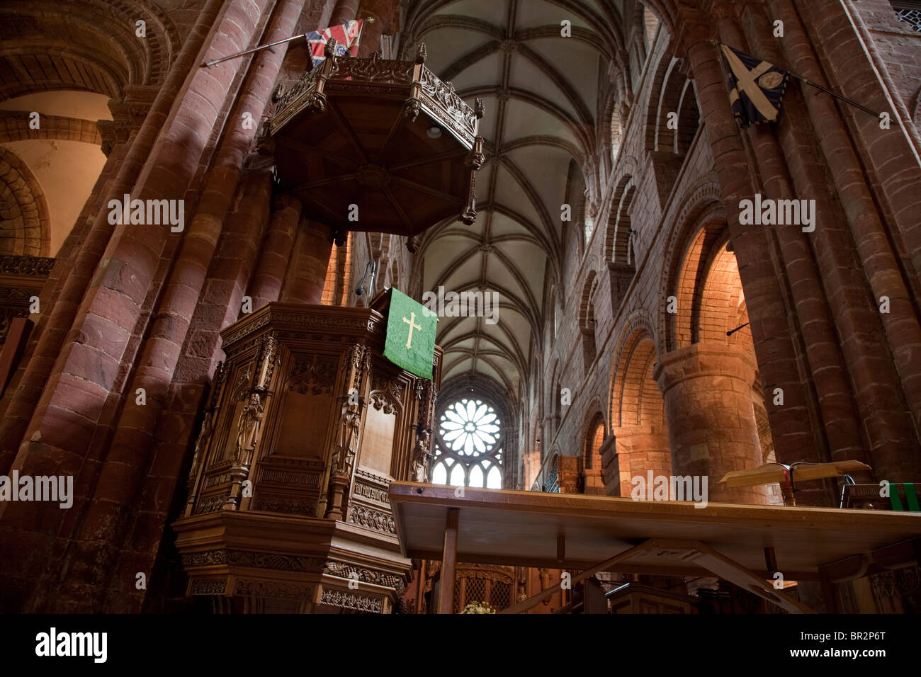 Pulpit in Kirkwall Cathedral in Orkney Islands, Scotland - Stock Image