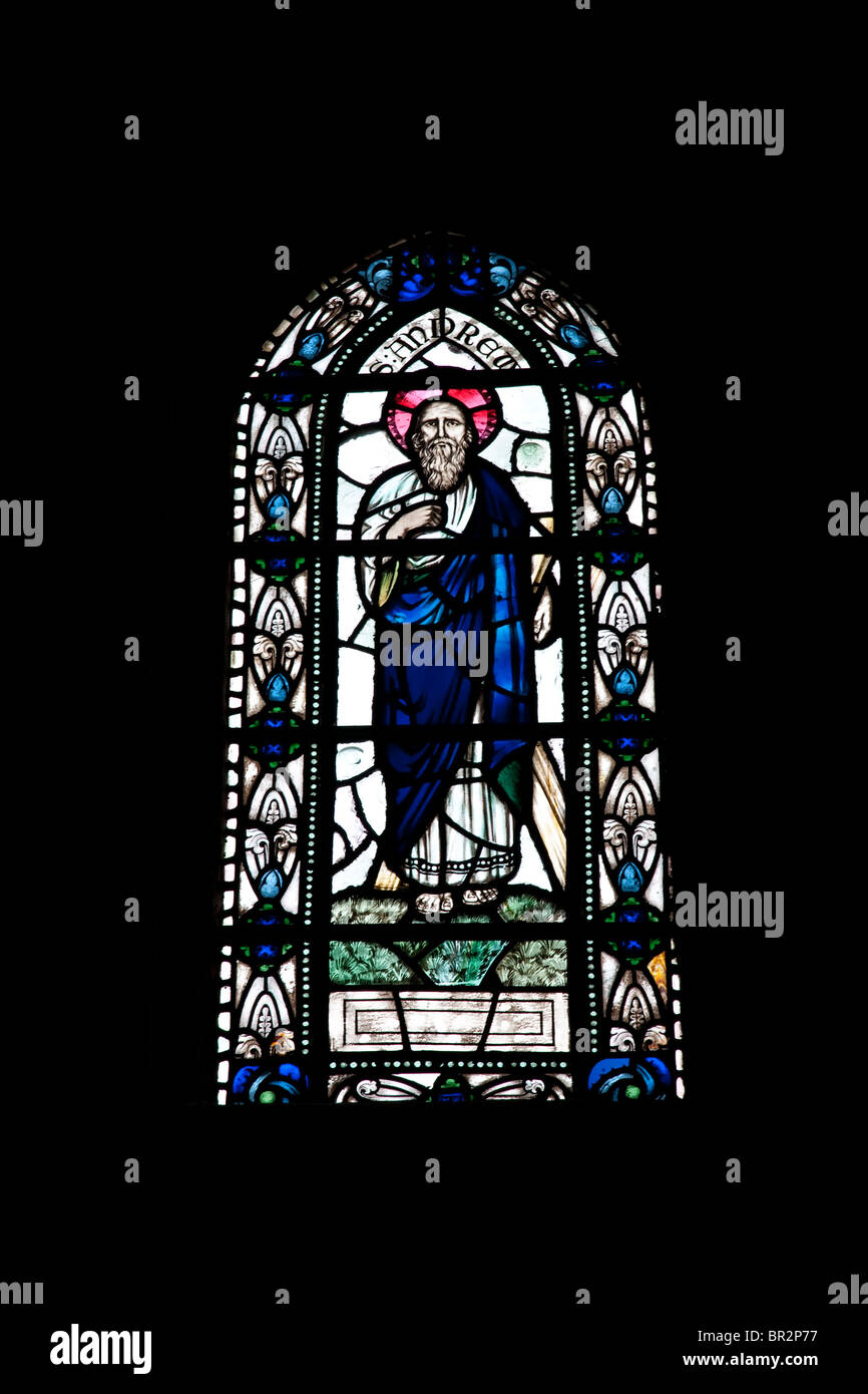 St Andrew on a Stained Glass Window in Kirkwall Cathedral - Stock Image