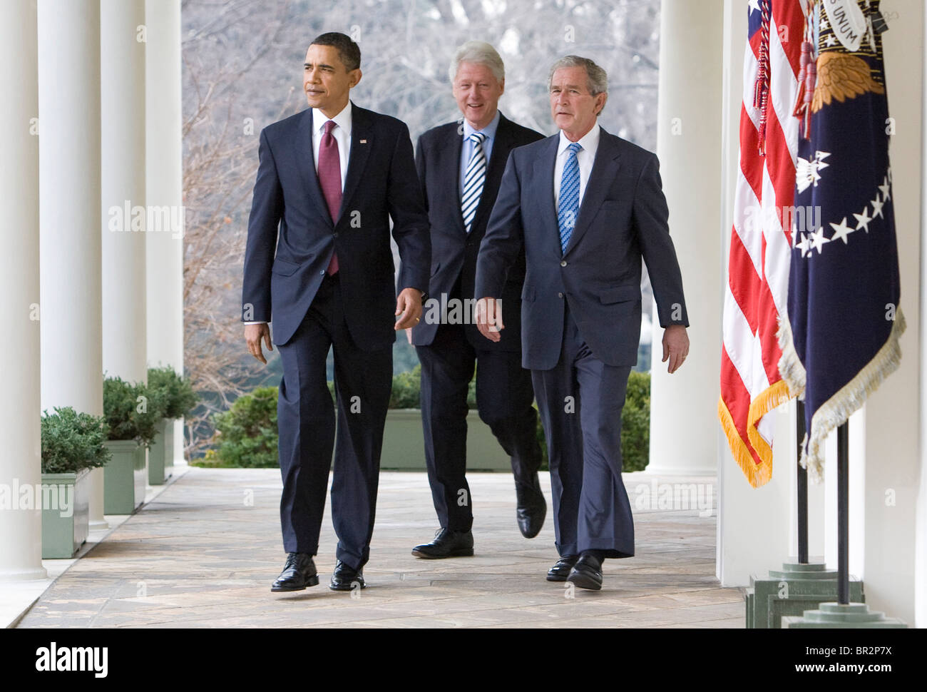 President Barack Obama with former Presidents George W. Bush and Bill Clinton.  Stock Photo