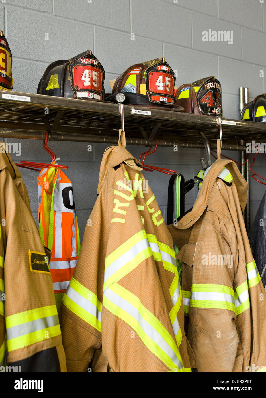 American firefighter helmets and turnout coats - Pennsylvania USA - Stock Image
