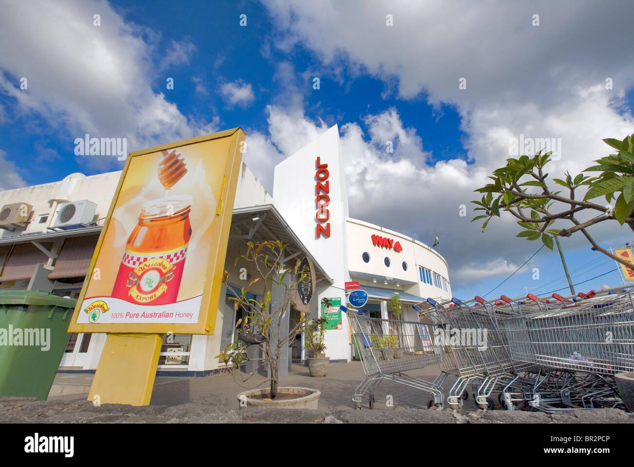 Mauritian supermarket, Rivière Noire, Mauritius - Stock Image