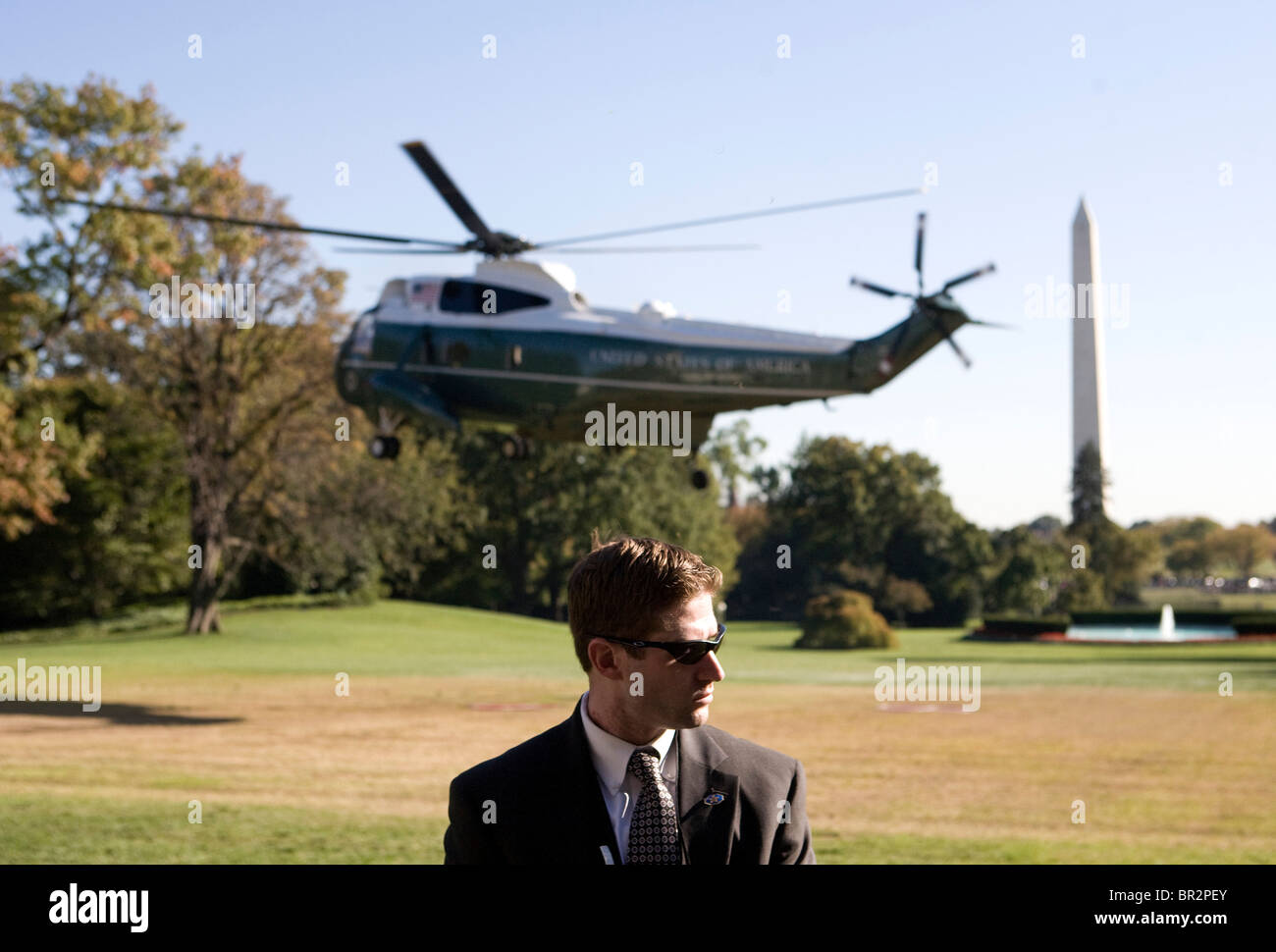 President Barack Obama departs the south lawn of the White House. - Stock Image
