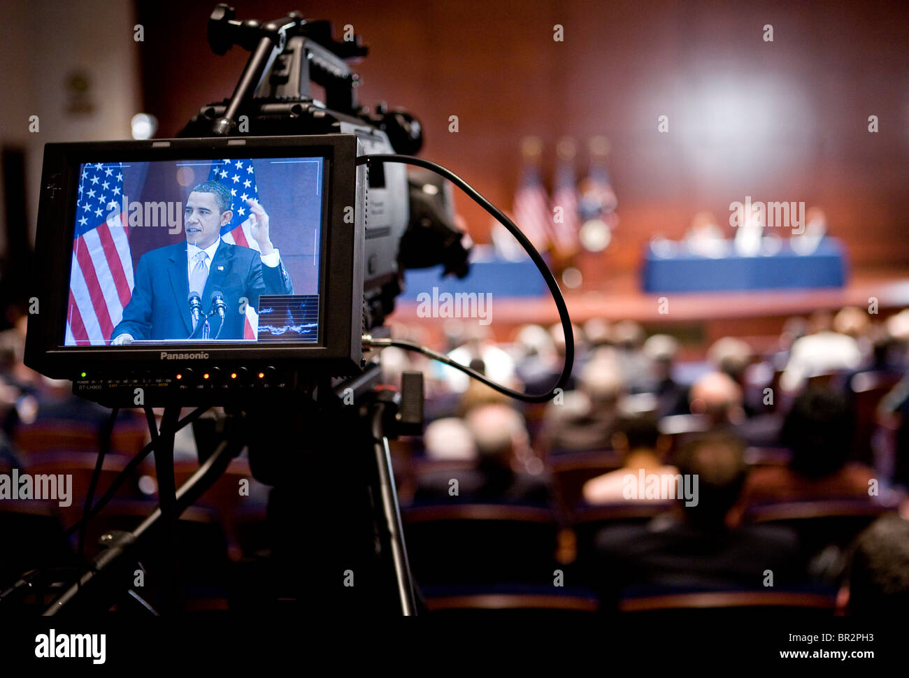 President Barack Obama speaks to members of congress on the eve of the healthcare overhaul vote. Stock Photo