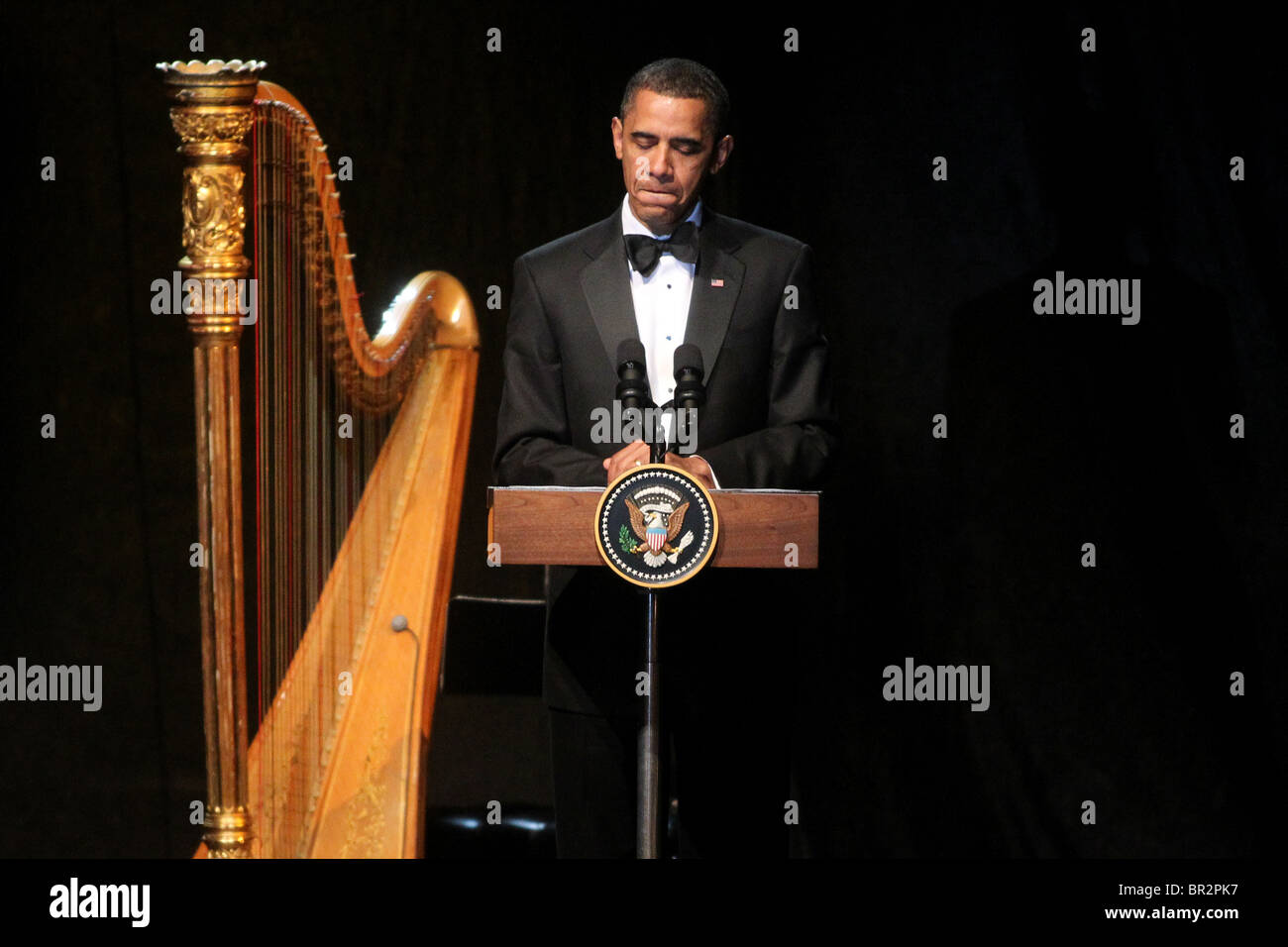 President Barack Obama speaks during the Mexico State Dinner at the White House. - Stock Image