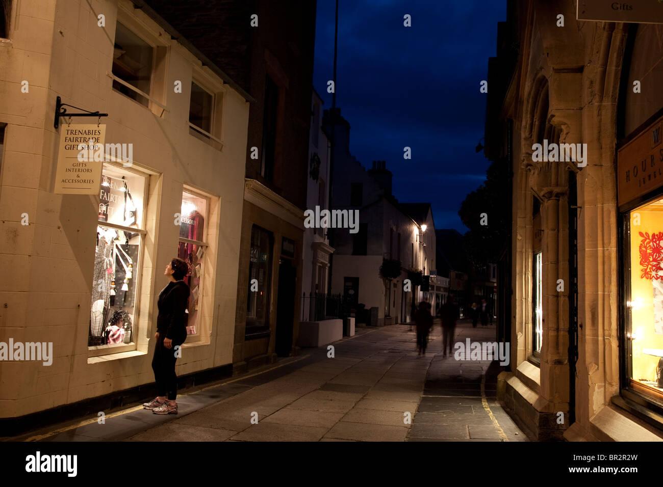Albert Street, Kirkwall, Orkney Islands, Scotland illuminated at night - Stock Image